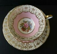 Aynsley Signed J. A. Bailey Pink Salmon Rose Bouquet Gold Gilt Teacup and Saucer