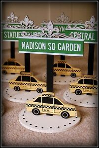 NEW YORK Wedding Decoration Table Names ROADSIGNS with Yellow Taxi Any Name