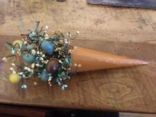 Easter Floral metal Cone Pocket Basket Pips Speckled Eggs ~ Home Decor