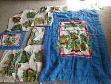 Vtg Teenage Mutant Ninja Turtles 1990 Twin 9 pc BEDROOM SET Curtains comforter +