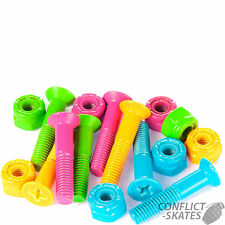 """SUSHI Neon Skateboard Truck Mounting Bolts 1"""" Phillips x8  Fixings Multicoloured"""