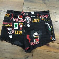 Lazy Oaf Size 8 10 Black Denim Head Banger Heavy Metal Shorts ACDC Iron Maiden