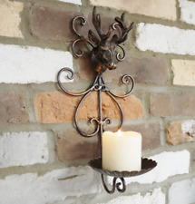 Stag Candle Holder Cast Iron Wall Mounted Antique Style Deer Sconce Decoration