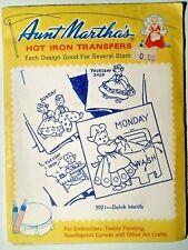 Aunt Martha's Dutch Motifs #3021 Embroidery Needlepoint Iron on Transfers