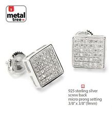 Men's 925 Silver Hip Hop Square Flat Screen Screw Back Stud Pave Earrings 455 S