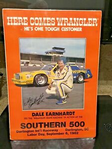 """1982 Dale Earnhardt Here Comes Wrangler Southern 500 Promo Poster 22"""" X 15""""1/2"""