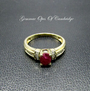 18K 18ct Gold Ruby and Diamond Ring Size O 3.47g
