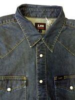 LEE WESTERN DENIM SHIRT MEN'S REGULAR FIT POPPERS SMALL DARK BLUE LSHT576