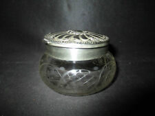 ancienne boite à poudre cristal gravé et métal argenté Art Nouveau fin XIX ème