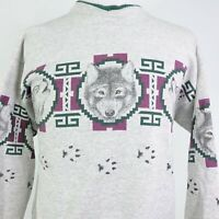 VTG WOLF WOLVES ALL OVER PRINT NATURE USA MADE SWEATSHIRT W/ POCKETS SZ L LARGE