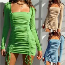 Women Long Sleeve Ruched Drawstring Bodycon Mini Dress Cocktail Party Dresses UK