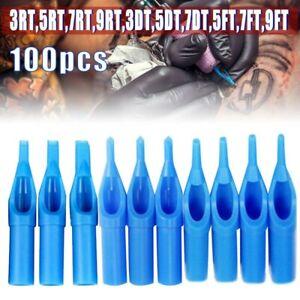 100PCS Mixed Sterile Disposable Tattoo Nozzle Tips Needle Tube Kit Set Blue