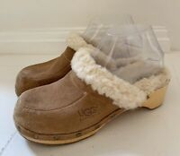 UGG Women's Clogs Mules Shoes Sz 6 Suede Tan Brown Sherpa Lined