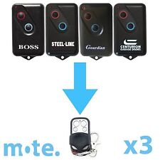 3 x Boss/Guardian/Steel-Line 2211L Compatible Garage Door Remote BHT4/BOL4/BRD1