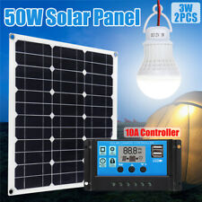 50W Solar Panel Battery Charger +2Pcs 3W Light Bulb+10A Controller For Camping