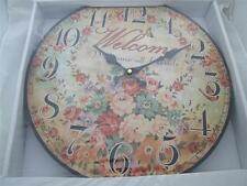Welcome all Friends Retro Round Open Face Wall Clock.