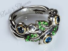 Barbara Bixby Sterling 18k Gold Vine&Leaf Pave' Gemstone Blue Topaz Ring Size 7