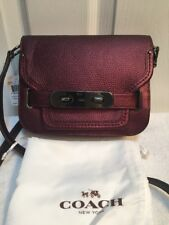 """Coach Metallic '' Cherry """" Pebble Leather Swagger Small Shoulder Bag MSRP $350"""