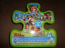 Disney Junior 6 Pack Puzzle Collection In Plastic Container-24 Pieces Each-New