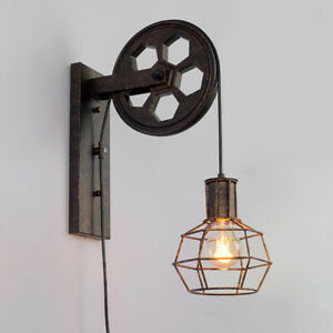 Industrial Rustic Wall Sconces Wall Mount Lamp Lighting Fixture Pulley Reflector