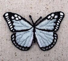 Large Monarch Butterfly - Light Blue/Black - Iron on Applique/Embroidered Patch