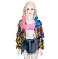 Birds of Prey Harley Quinn Cosplay Women's Adult Costume Jacket, Shorts & Shirt