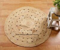 Handmade Rug Braided Jute Floor Protector Bedroom Round Woven Carpet Mat 97 cm