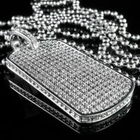 18K White Gold Out Iced CZ Dog Tag Stainless Steel Ball Chain Pendant Necklace