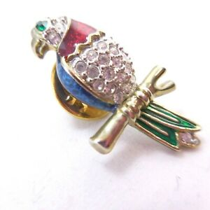 Tropical Parrot On a Branch Pin Rhinestone Pin Back Gold Tone Vintage