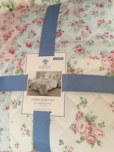 Rachel Ashwell Simply Shabby Chic Ditsy Patchwork 3 Pc Quilt Set New Full/queen