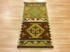 Antique look Hand-woven Tribal Kilim Green Brown 100% Wool Rug 71x138cm 60% OFF