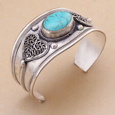 Unisex Gift Vintage Turquoise Bead Cuff Bracelet Bangle Tibet Silver Heart