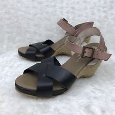 Eric Michael Women Sz 41 ( US 8 ) Black Rose Quinny Mid Wedge Sandals Espadrille