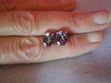 Mystic Topaz stud earrings, 4.32 carats, in 1.5 grams of 925 Sterling Silver