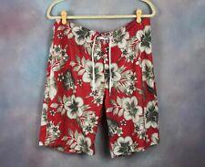Abercrombie & Fitch Men's Swim Trunks Size 33 Red Hawaiian Print Board Shorts