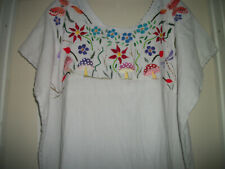 BOHO HIPPIE MAGIC MUSHROOM BOHO HAND EMBROIDERED VINTAGE MEXICO STYLE BLOUSE 2 X