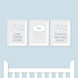 Nursery Prints - Twinkle Twinkle Little Star, Blue, Baby Room, Kids Bedroom