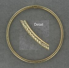 14k Yellow Gold Dazzling Detail Bangle Glam Style 7.8 inches. Hollow. Gift