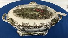 Friendly Village Rectangular Soup Tureen w/ Lid & Ladle Johnson Brothers England