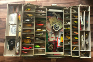 Vintage Plano 6 Tray Tackle Box Loaded with Old Vintage Fishing Lures