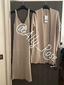 Zara Light Sand Ribbed Knit Midi Dress & Cardigan Co Ord Set. Size M/L