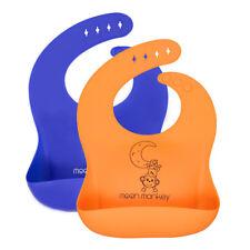 Moon Monkey® 2 Pack Soft Waterproof Baby/Toddler Bibs - Orange and Blue
