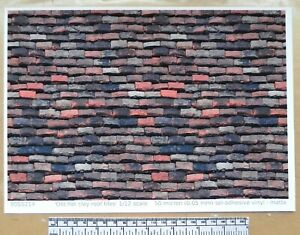 """1/12th dolls house """"Roof tiles -  old flat clay type"""" self adhesive vinyl - A4"""