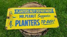 VINTAGE MR.PEANUT PLANTERS PEANUTS PORCELAIN ENAMEL FOOD METAL GAS STATION SIGN