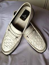Mocassini uomo in pelle bianca intrecciata n. 41 scarpe classiche non stringate