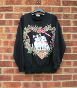 Vtg black cats sweater floral heart pink green patterned animal jumper top L
