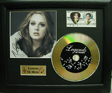 Adele Preprinted Autograph, Gold Disc & Plectrum Presentation