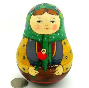 Wobbly doll Bell Ring TRADITIONAL MATRYOSHKA GIRL & rattle Russian Wood RYABOVA