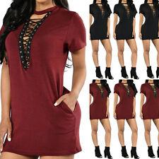 UK 8-24 ZANZEA Women Oversized Choker V Neck Lace Up Loose Tops Mini Shirt Dress