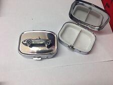 Austin Healey 3000 Mk1 ref22 pewter effect car emblem on silver metal pill box